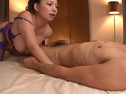 Oiled up sex bomb with huge tits Oda Mako enjoys dick riding