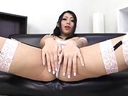 Horny milf toys wet pussy until intense orgasms