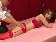 Juicy Japanese model in red lingerie Honda Misaki pounded hard