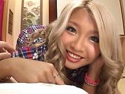 Hot Japanese babe sucks and fucks in POV