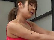 Sporty Japanese girl fucks with her sex instructor
