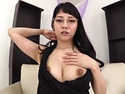 Asian brunette girl Mitsuna Rei plays a solo with a dildo