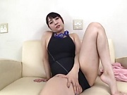 Gorgeous Asian girl Mitsuna Rei masturbates and sucks on cam