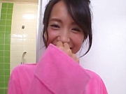 Cheerful Japanese milf Nagase Asami takes a bath and fucks hard