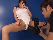 Pretty babe Ayane Suzukawa in a kinky toy session indoors