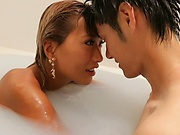 Premium Japanese blowjob in the tub with Aika