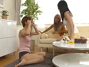 Three attractive Japanese AV models give a handwork in pov