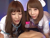 Mischisvous nurses Kisaki Aya and Komine Miko lick a cock in mff