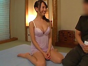 Hot milf is giving a balls deep blowjob