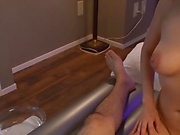 Hot masseuse is doing a great handjob
