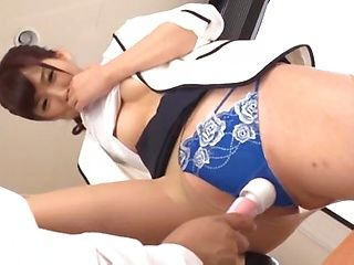 Asian babe in sexy pantyhose Aine Maria enjoys a cock in shaved pussy