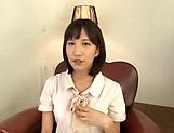 Cute babe Riku Minato spreads to show her wet shaved muff