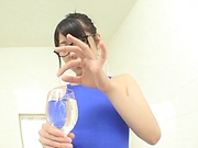 Cheerful Japanese AV girl Aoi Rena oils her body and toys her twat