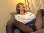 Stunning Japanese AV model in nylon pantyhose banged crazily