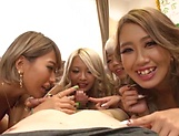 Amateur Japanese babes in insane scenes of group sex picture 13
