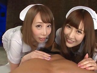 Nurses in fishnet stockings Kisaki Aya and Komine Miko in mff sex