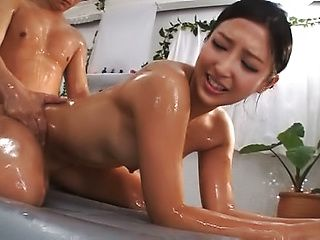Gorgeous Mizuki Miri gets her oiled body passionately caressed