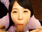 Aoi Rena gets a messy cum in mouth