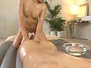 Milf with oiled body got a cumshot
