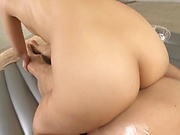 Sexy masseuse is getting banged at work
