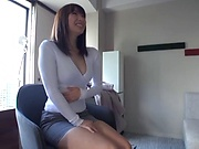 Oversexed Japanese milf gets her twat fingered and dildoed