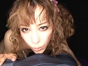 Curly haired Japanese hottie in kinky POV blowjob scene