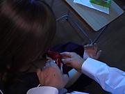 Hot schoolgirl Ayami Shunka gets her hairy pussy creamed