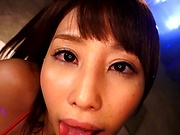Pretty AV model in red lingerie Ayami Shunka takes a cock ride in pov