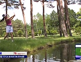 Sporty Japanese golf player gets naked on the court