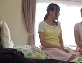 Sexy Moa Hoshizora in kinky lesbian fun in a massage parlor