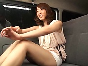 Japanese milf gets hard fucked on the back seat