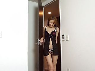 Hot honey enjoys teasing a lucky stud in a sexy black lingerie