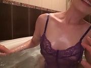 Sasaki Aki enjoys a sensual tit licking