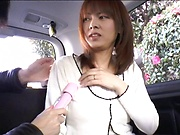 Sexy milf gets toyed in the car properly