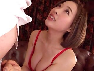 Honda Misaki is wearing red lingerie