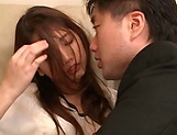 Hot Japanese chick Hagane Koino in action sucking cock picture 15