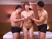 Mizusawa Riko performs a deep throat blowjob