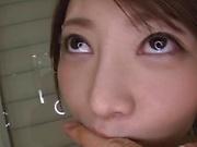Ikushima Ryou ,gets her shaved pussy peasured