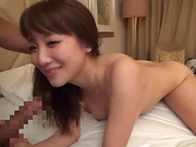 Japanese amateur seductress gets kinky on her toys