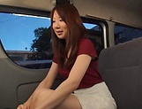 Stunning Japanese AV model has hardcore sex in the back of a car picture 13