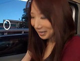 Stunning Japanese AV model has hardcore sex in the back of a car picture 2