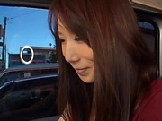 Japane hottie fucked and creamed on pussy during car sex