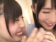 Gorgeous lesbians enjoy a passionate kissing session