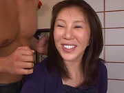 Busty Japanese milf, serious hard sex with younger male