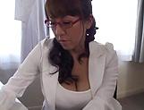 Appealing Fujishita Rika masturbates hairy slit picture 15