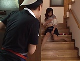 Hasuda Ikumi has her hairy pussy pleasured