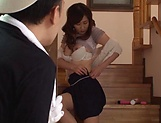 Hasuda Ikumi has her hairy pussy pleasured picture 9
