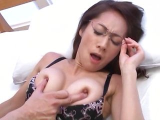 Woman with glasses and big tits had sex