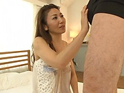 Japanese mature sucks dick with great passion