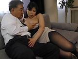 Fujishita Rika pleasured with a kinky tit licking picture 14